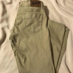 Light green skinny jean pants